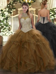 Beauteous Sleeveless Floor Length Beading and Ruffles Lace Up Quinceanera Dress with Brown