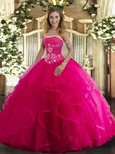 Cheap Floor Length Ball Gowns Sleeveless Hot Pink Sweet 16 Dresses Lace Up