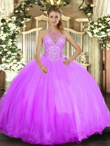 Sleeveless Tulle Floor Length Lace Up Quince Ball Gowns in Lilac with Beading