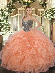 Chic Floor Length Orange Vestidos de Quinceanera Organza Sleeveless Beading and Ruffles