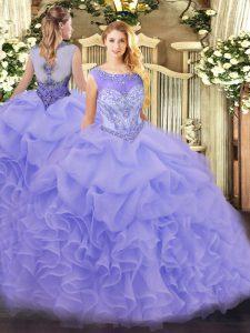 Dazzling Lavender Scoop Neckline Beading and Ruffles Sweet 16 Dresses Sleeveless Zipper