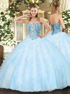 Amazing Light Blue Lace Up Sweetheart Beading and Ruffles 15 Quinceanera Dress Tulle Sleeveless