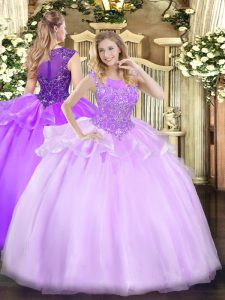 Delicate Floor Length Zipper Quinceanera Gown Lilac for Military Ball and Sweet 16 and Quinceanera with Beading