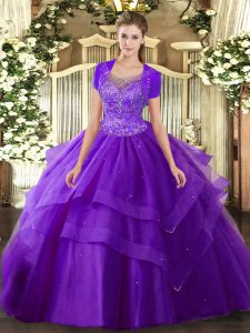 Purple Sleeveless Floor Length Beading and Ruffles Clasp Handle Ball Gown Prom Dress
