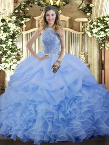 Spectacular Organza High-neck Sleeveless Lace Up Beading and Ruffles and Pick Ups Sweet 16 Quinceanera Dress in Blue