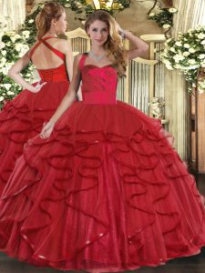 Floor Length Wine Red Quinceanera Gown Tulle Sleeveless Ruffles