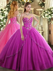 Dynamic Sleeveless Brush Train Lace Up Appliques and Embroidery Vestidos de Quinceanera