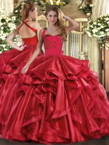 Stunning Wine Red Halter Top Neckline Ruffles Quinceanera Gown Sleeveless Lace Up