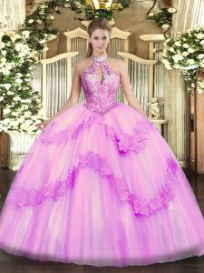 Ball Gowns 15th Birthday Dress Lilac Halter Top Organza Sleeveless Floor Length Lace Up