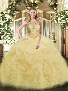 Pretty Champagne Organza Lace Up Halter Top Sleeveless Floor Length Sweet 16 Dresses Beading and Ruffles