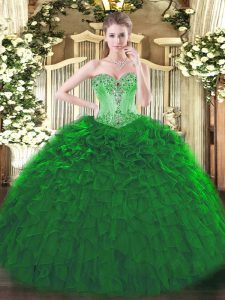 Hot Sale Dark Green Lace Up Sweetheart Beading and Ruffles Quince Ball Gowns Organza Sleeveless