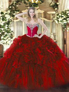 Floor Length Wine Red Sweet 16 Quinceanera Dress Organza Sleeveless Beading and Ruffles