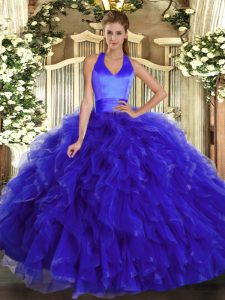 Latest Royal Blue Ball Gowns Ruffles Quince Ball Gowns Lace Up Organza Sleeveless Floor Length