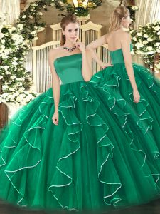 Pretty Dark Green Quince Ball Gowns Military Ball and Sweet 16 and Quinceanera with Ruffles Strapless Sleeveless Zipper