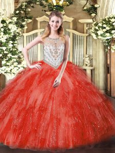 Scoop Sleeveless Quinceanera Dresses Floor Length Beading and Ruffles Coral Red Tulle