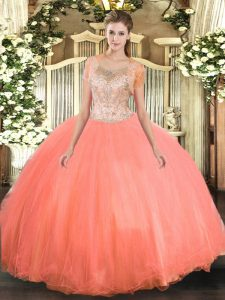 Watermelon Red Tulle Clasp Handle Quinceanera Gown Sleeveless Floor Length Beading