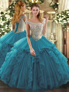 Off The Shoulder Sleeveless Tulle Vestidos de Quinceanera Beading and Ruffles Lace Up