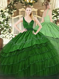 Wonderful Dark Green Straps Zipper Beading and Embroidery and Ruffled Layers Quinceanera Gown Sleeveless