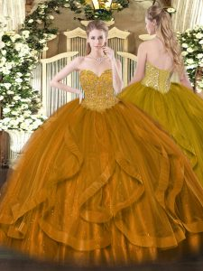 Colorful Gold Lace Up Quinceanera Gown Beading and Ruffles Sleeveless Floor Length