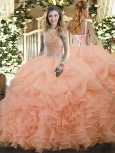 Graceful Peach High-neck Lace Up Beading and Ruffles and Pick Ups Quinceanera Dress Sleeveless