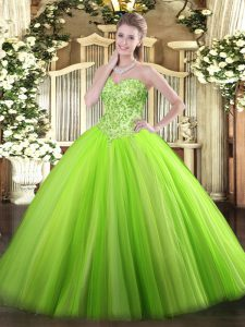 Sweetheart Sleeveless Quince Ball Gowns Floor Length Appliques Tulle