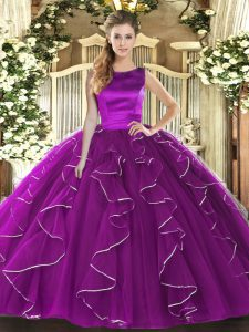 Sleeveless Tulle Floor Length Lace Up Sweet 16 Dresses in Eggplant Purple with Ruffles