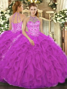Suitable Fuchsia Sleeveless Floor Length Beading and Embroidery and Ruffles Lace Up Quinceanera Gown