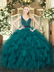 Stylish Teal Sleeveless Beading and Ruffles Floor Length Quinceanera Gowns