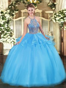 Amazing Aqua Blue Ball Gown Prom Dress Military Ball and Sweet 16 and Quinceanera with Beading and Ruffles Halter Top Sleeveless Lace Up