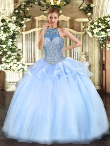 Floor Length Ball Gowns Sleeveless Blue Quince Ball Gowns Lace Up
