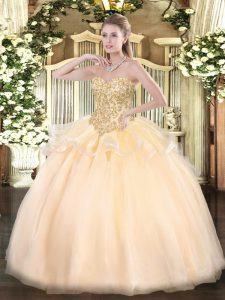 Modern Champagne Organza Lace Up Sweetheart Sleeveless Floor Length Sweet 16 Dress Appliques