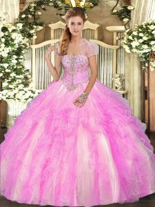 Cheap Floor Length Lilac 15 Quinceanera Dress Tulle Sleeveless Appliques and Ruffles