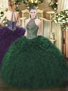 Ball Gowns Quince Ball Gowns Dark Green Halter Top Taffeta Sleeveless Floor Length Lace Up