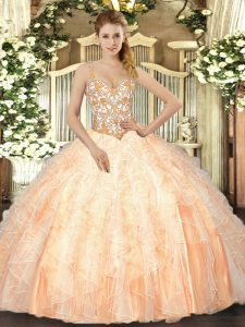 Custom Made Peach Ball Gowns Beading and Ruffles 15 Quinceanera Dress Lace Up Organza Sleeveless Floor Length