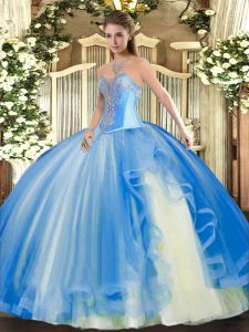 Sleeveless Floor Length Beading and Ruffles Lace Up Ball Gown Prom Dress with Baby Blue