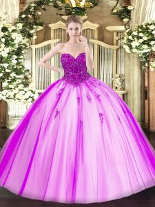 Fuchsia Sleeveless Tulle Lace Up Sweet 16 Dresses for Military Ball and Sweet 16 and Quinceanera