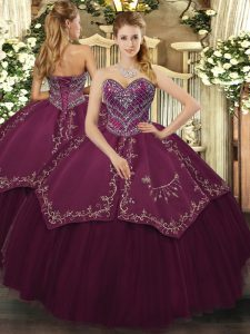 Captivating Burgundy Sleeveless Taffeta and Tulle Lace Up Quinceanera Gown for Military Ball and Sweet 16 and Quinceanera