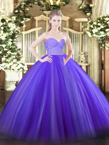 Sexy Lavender Sleeveless Beading and Lace Floor Length Quinceanera Dress