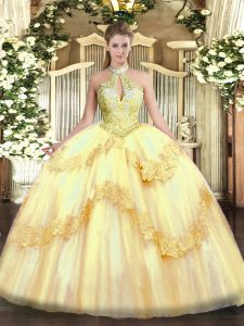 Exceptional Gold Tulle Lace Up 15th Birthday Dress Sleeveless Floor Length Appliques and Sequins