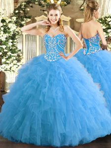 Super Sweetheart Sleeveless Sweet 16 Quinceanera Dress Floor Length Beading and Ruffles Aqua Blue Tulle