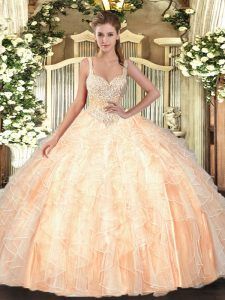 Gorgeous Peach Straps Neckline Beading and Ruffles Sweet 16 Dress Sleeveless Lace Up