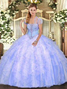 Classical Light Blue Sleeveless Appliques and Ruffles Floor Length Quinceanera Dress