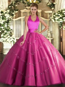 Hot Pink Halter Top Lace Up Appliques 15th Birthday Dress Sleeveless