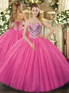 Sleeveless Tulle Floor Length Lace Up Ball Gown Prom Dress in Hot Pink with Beading