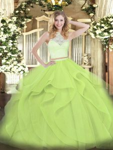 Yellow Green Tulle Zipper Quinceanera Dress Sleeveless Floor Length Lace and Ruffles