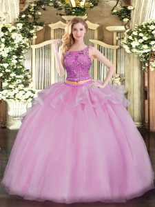 Best Selling Lilac Two Pieces Organza Scoop Sleeveless Beading Floor Length Lace Up Quinceanera Gown