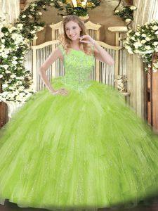 Sweet Sleeveless Zipper Floor Length Beading and Ruffles Quinceanera Dresses