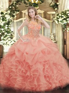 High Class Scoop Sleeveless Quince Ball Gowns Floor Length Beading and Ruffles Baby Pink Organza