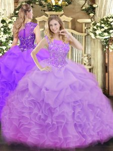 Lavender Quince Ball Gowns Military Ball and Sweet 16 and Quinceanera with Beading and Ruffles and Pick Ups Scoop Sleeveless Zipper