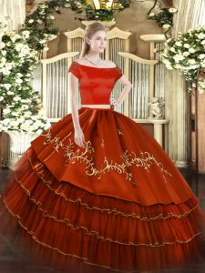 Sumptuous Rust Red Organza and Taffeta Zipper Sweet 16 Dresses Short Sleeves Floor Length Embroidery and Ruffled Layers